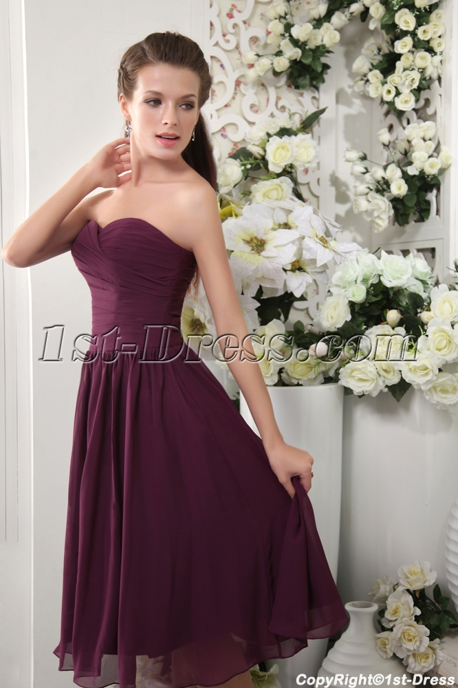 Discount Tea Length Deep Purple Bridesmaid Dresses IMG_0113:1st ...