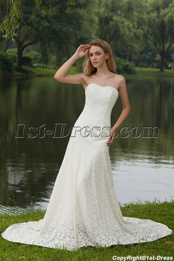 Elegant Simple Lace Bridal Gown with Drop Waist IMG_7981:1st-dress.com