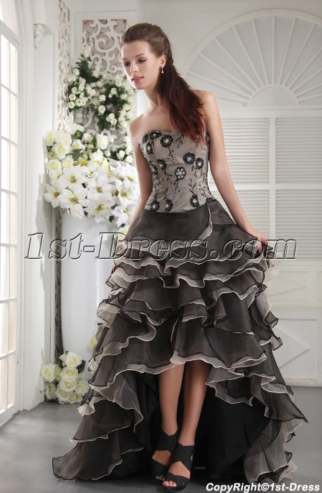 Exclusive Colorful Masquerade Ball Gown with High-low Hem
