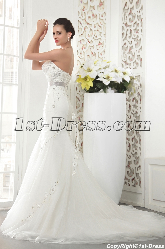 Expensive Strapless Mermaid Winter Bridal Gown