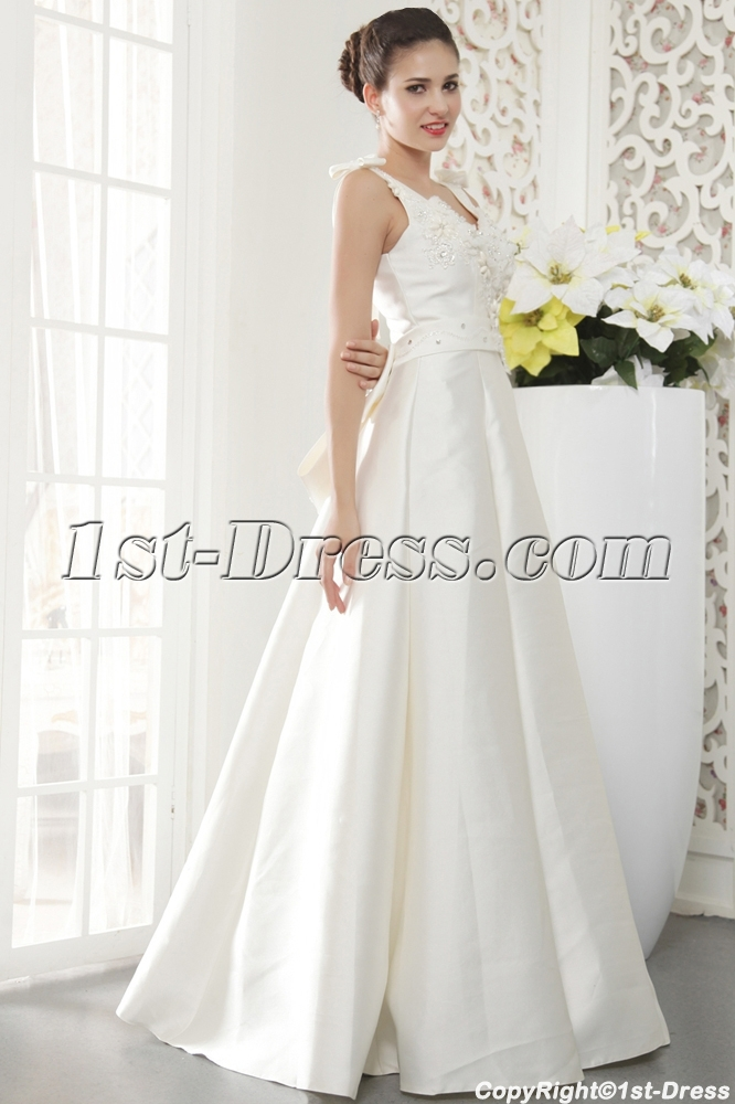 Floor Length V-neckline Petite Modest Bridal Gown with Bow IMG_5452 ...