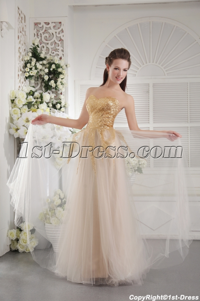 Gold Sequins Long Simple Ball Gown 2013 IMG_9728:1st-dress.com