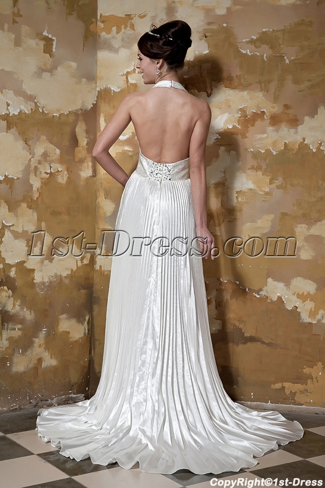 Halter Long Beach Backless Wedding Dresses GG1098 Loading Zoom