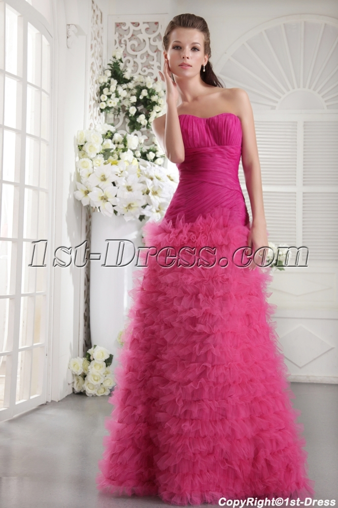 Haute Hot Pink Long Sweet 16 Dress IMG_9925:1st-dress.com