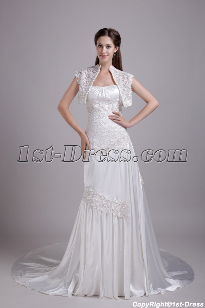 Ivory A-line Princess Wedding Gown with Jacket IMG_0729:1st-dress.com