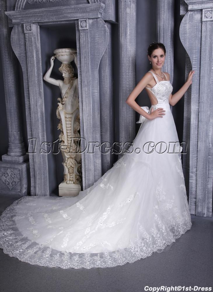 Lace Backless Wedding Dresses for Summer 1132:1st-dress.com