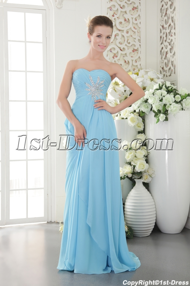 Light Blue Chiffon Military Prom Ball Gown IMG_9641:1st-dress.com