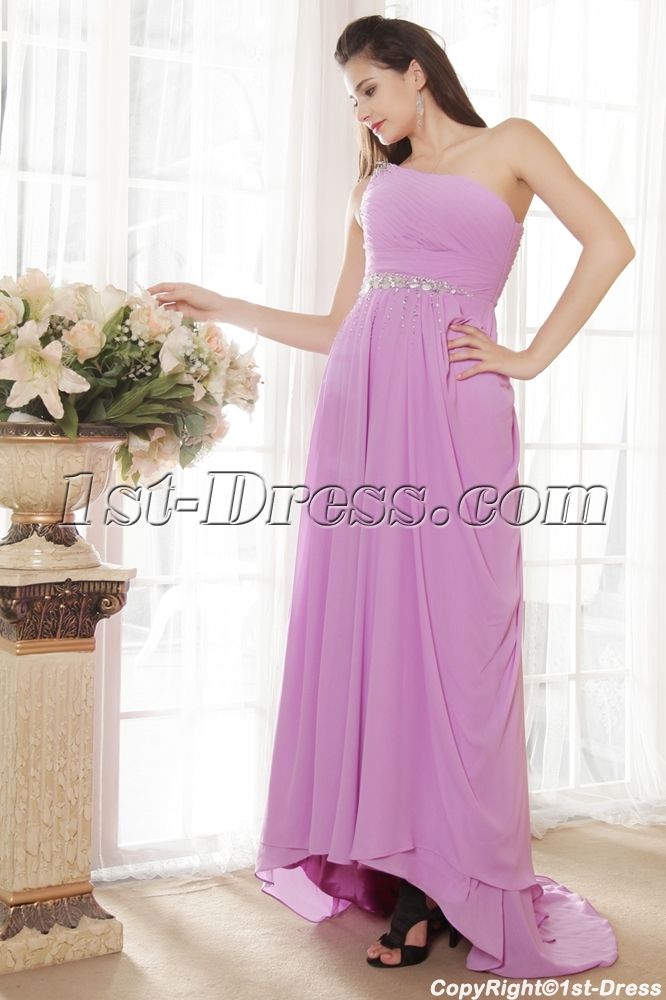 Lilac One Shoulder Plus Size Prom Dress with High-low IMG_5391:1st ...