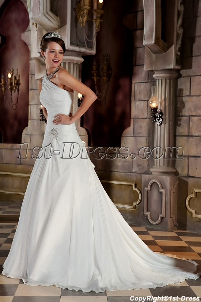 Long Beaded Beautiful One Shoulder Princess Bridal Gown