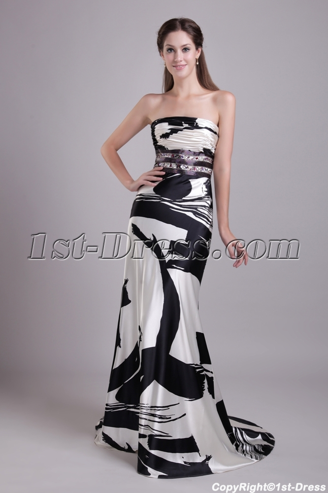 Long Print Black and White Celebrity Gown IMG_0740:1st-dress.com