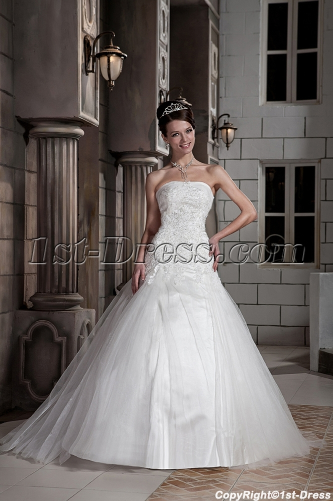 Lovely 2013 Princess Bridal Gown with Drop Waist