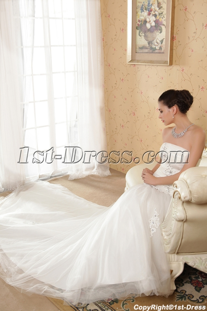 Noble Mermaid Winter Bridal Gown with Train
