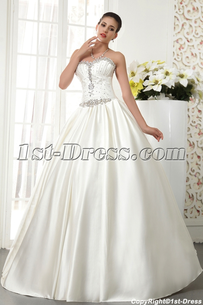 Noble Satin Winter Wedding Dress with Corset