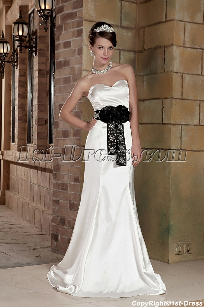 Off White With Black Affordable Informal Wedding Dresses GG1003 Loading Zoom