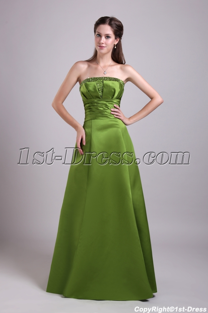 Olive Green Long Formal Evening Dress With Jacket Img 0696