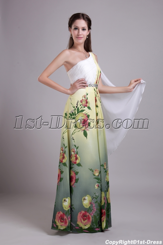 One Shoulder Printed Floral Chiffon Colorful Evening Dress Img0689