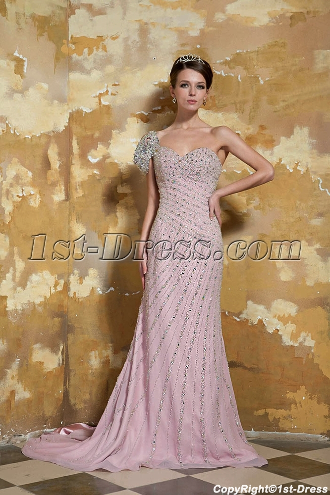 Pale Pink One Shoulder Luxurious Long Formal Evening Dresses With