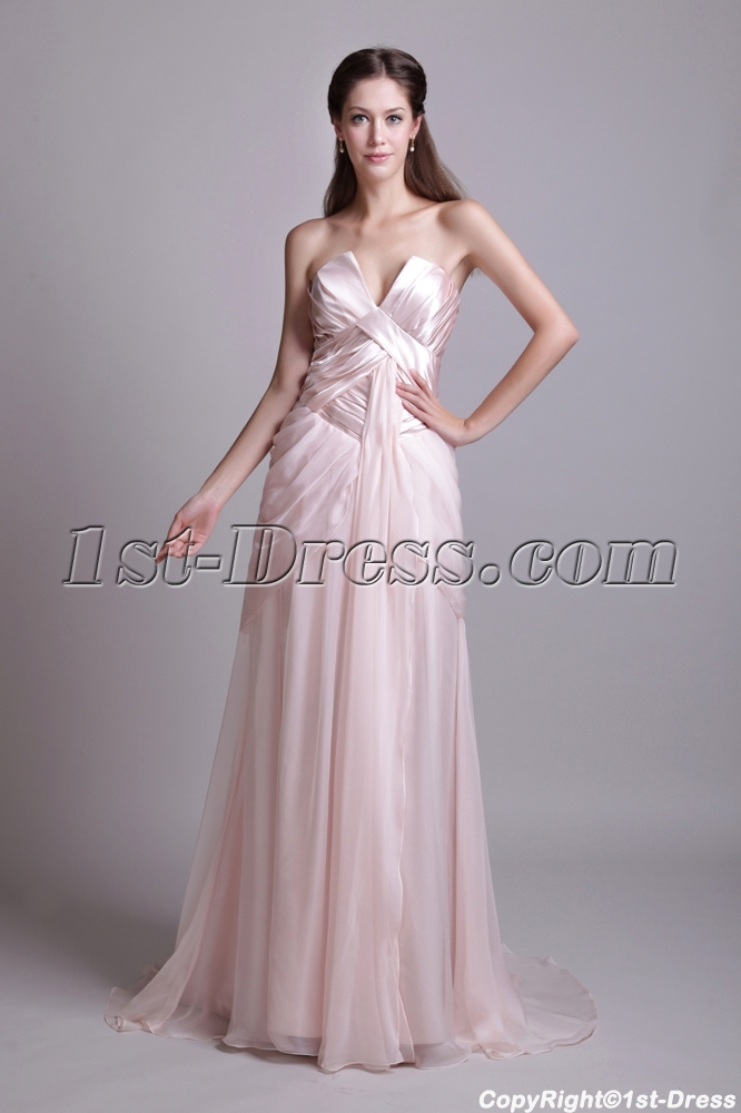 Pearl Pink Simple Masquerade Ball Gown Cheap