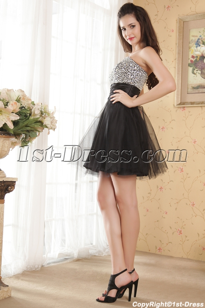 Pretty Short Black and Silver Sweet 16 Dresses IMG_5280:1st-dress.com