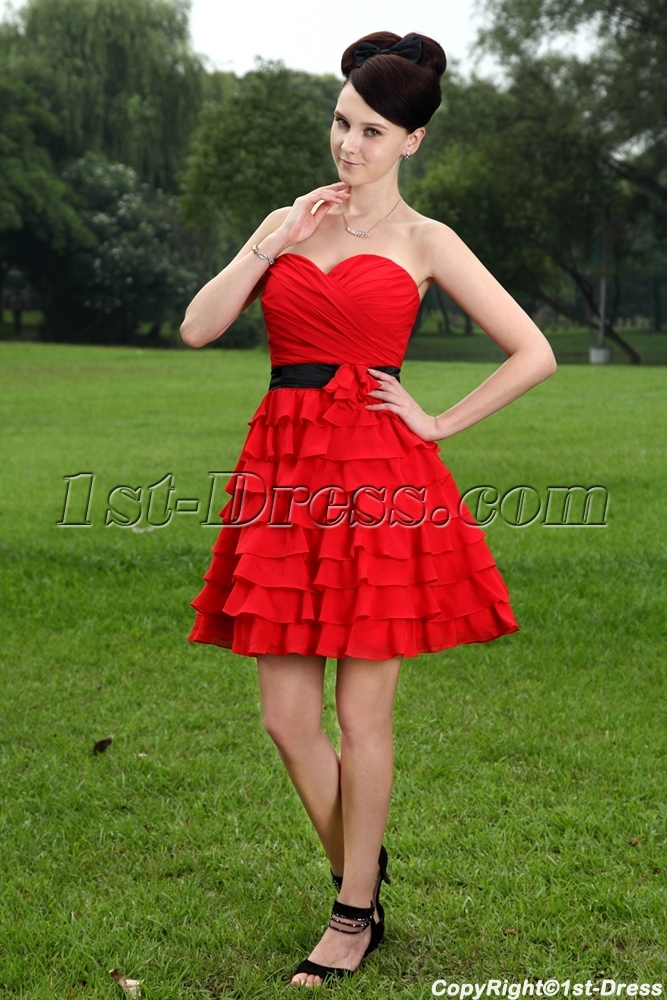 Pretty Short Red and Black Sweet 15 Dresses IMG_1068:1st-dress.com