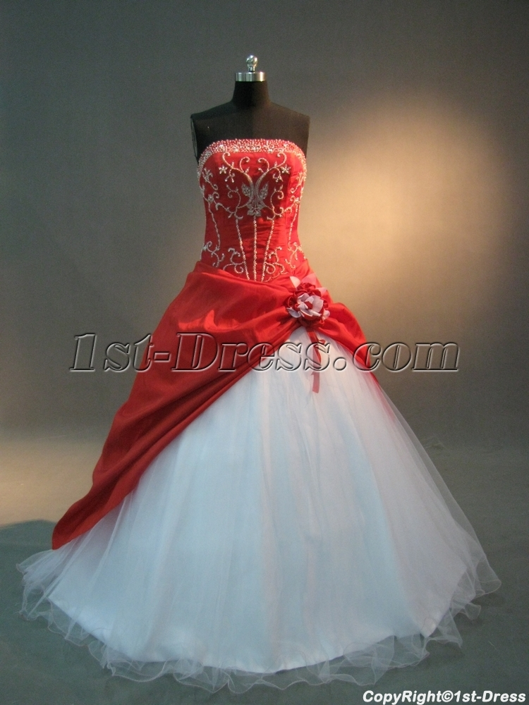 Red And White Floor Length Taffeta Quinceanera Dress Img