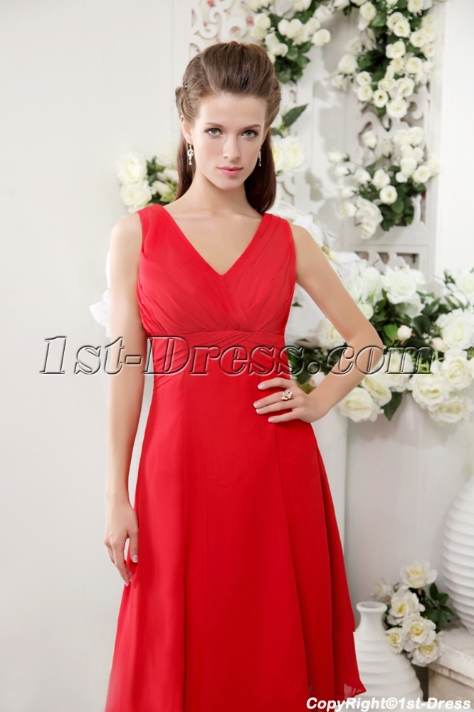 af6de88212fe Red Chiffon Beach Bridesmaid Dresses for Small Size Girl IMG_0201 ...