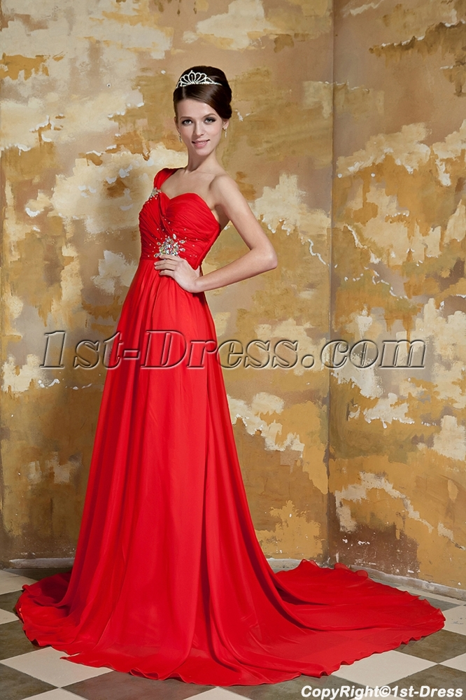 Red One Shoulder Evening Gown with Drop Shawl GG1051:1st-dress.com