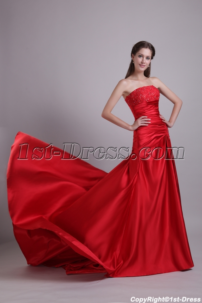 Red Satin Simple Mature Bridal Gown