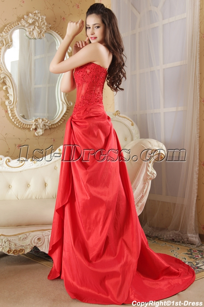 Red Strapless Illusion Sexy Masquerade Prom Gown Dress IMG_5227:1st ...