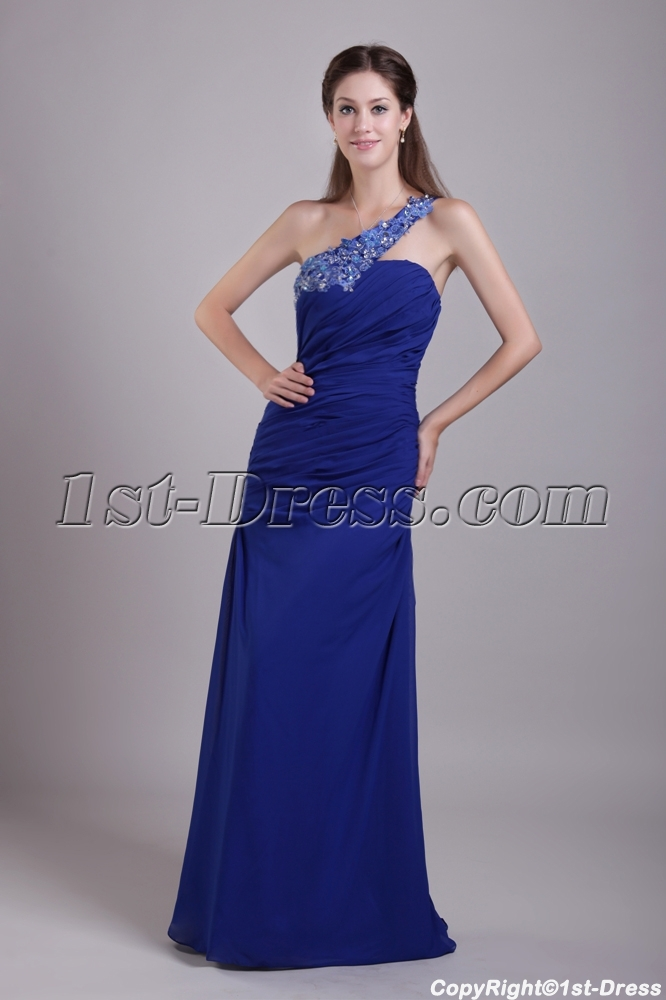 Royal Blue One Shoulder Military Prom Dress