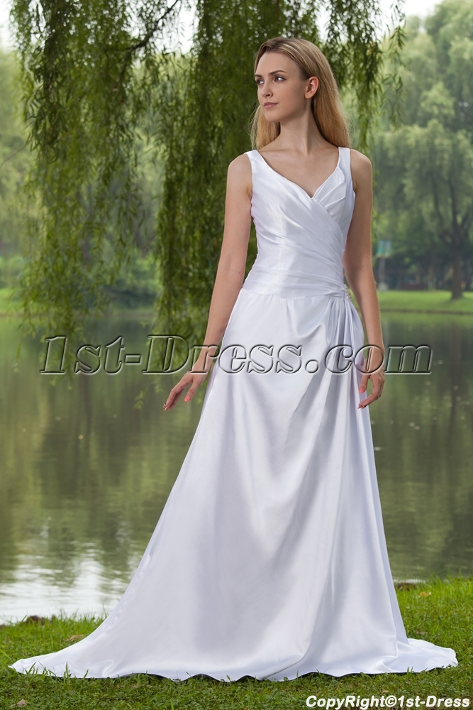 Satin elegant simple bridal gown with corset back img 7905 for Simple corset wedding dresses