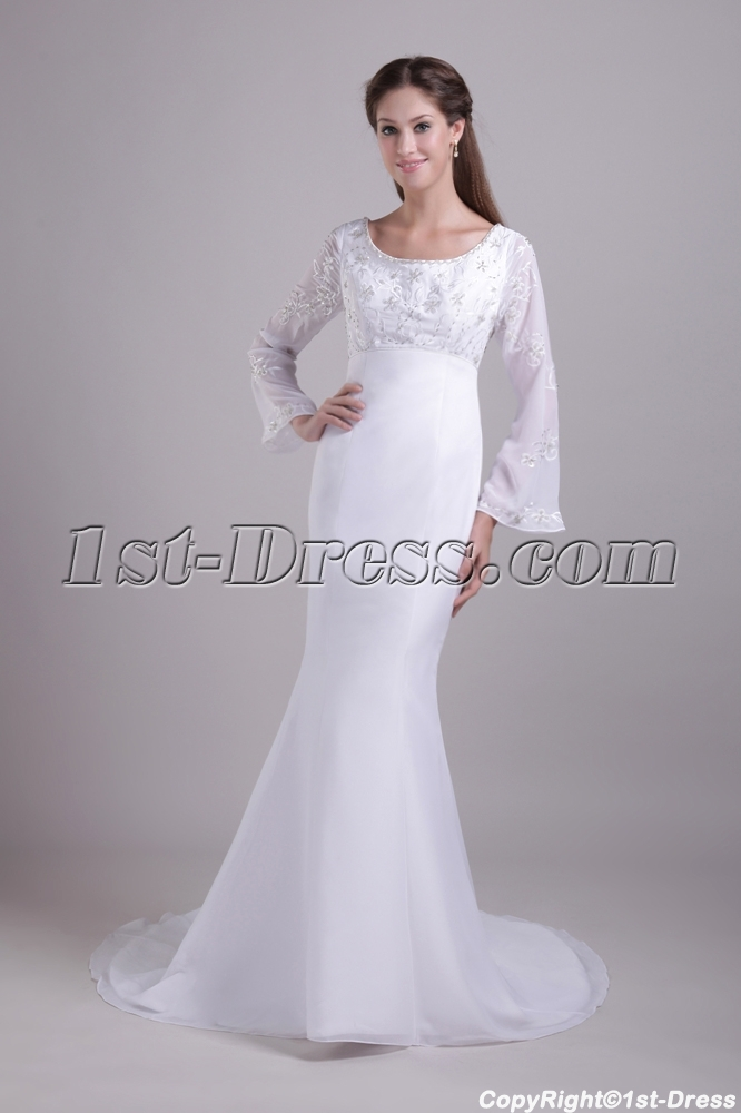 Scoop Long Sleeves Mermaid Winter Wedding Dress