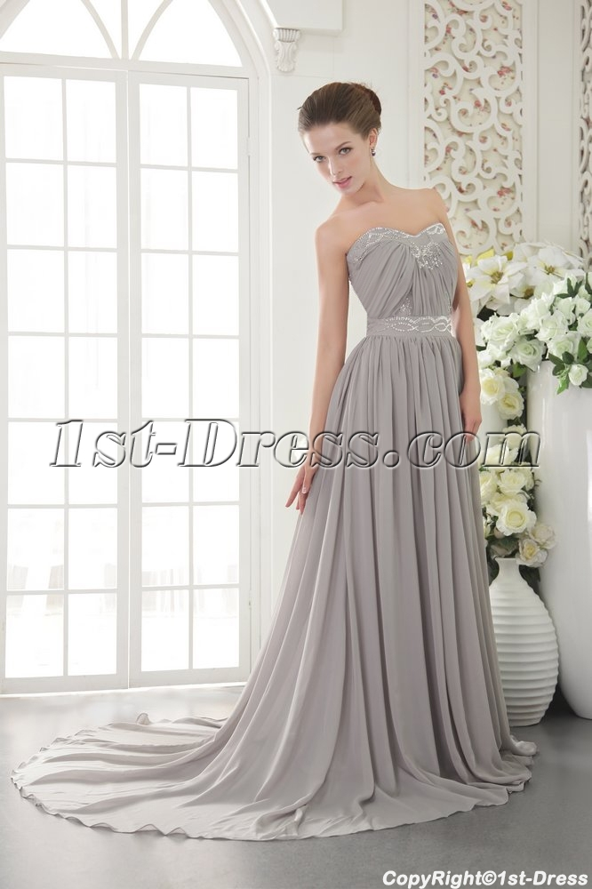 Silver Chiffon Evening Dresses For Plus Size Women Australia