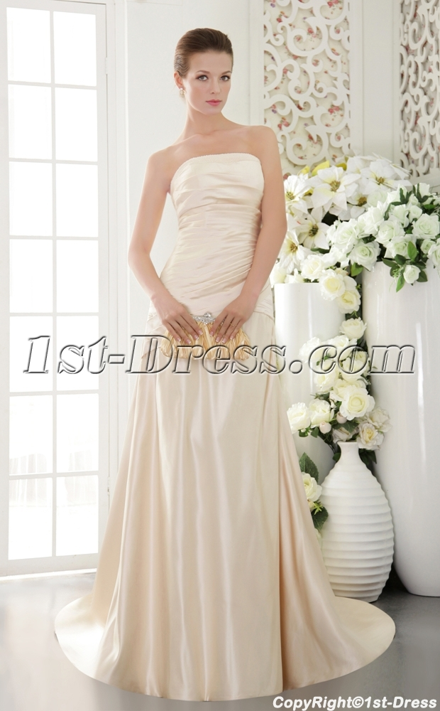 Simple Champagne Strapless Mature Bridal Gowns with Train