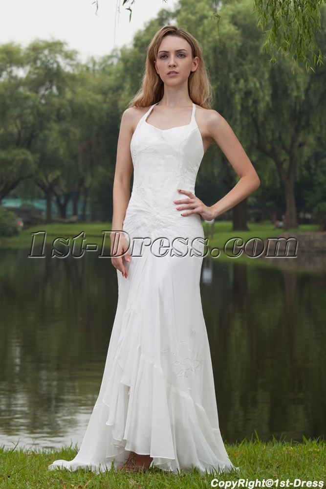 Simple Halter Beach Wedding Dresses Gowns With High Low Hem IMG 77911st Dress