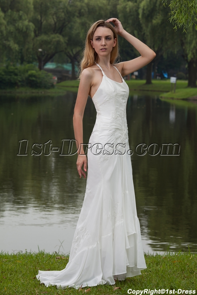 Simple Halter Beach Wedding Dresses Gowns with High-low Hem IMG_7791 ...
