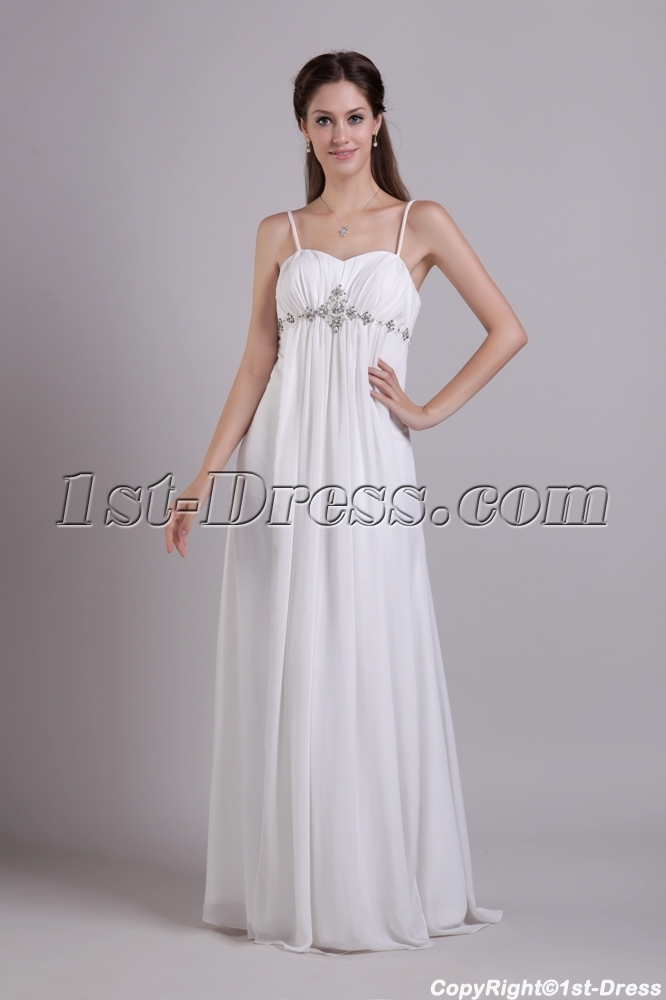 Spaghetti straps maternity wedding dress for plus size for Plus size maternity wedding dresses