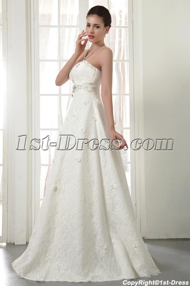 Strapless Long Modern Lace Wedding Dresses Miami IMG_5534:1st-dress.com