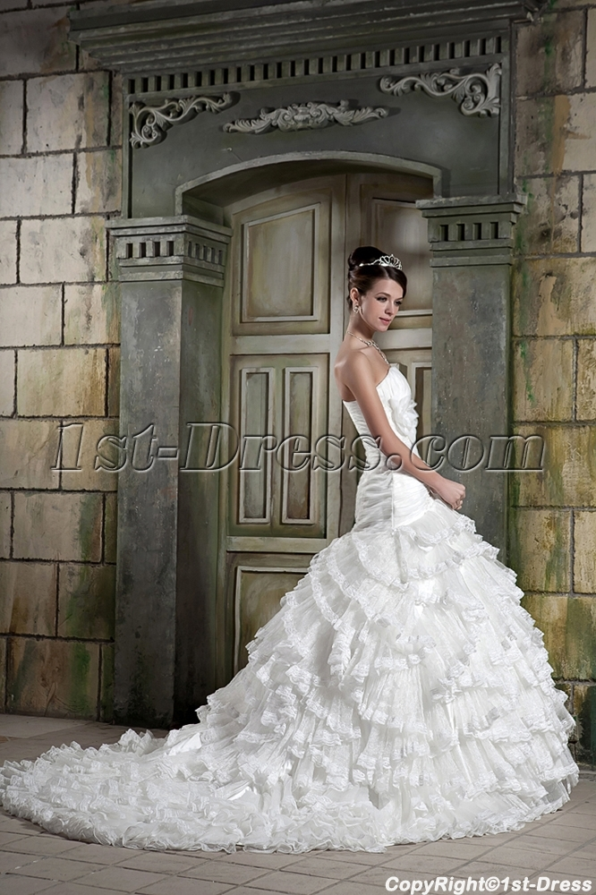 Strapless Luxurious Bridal Gown with Drop Waist