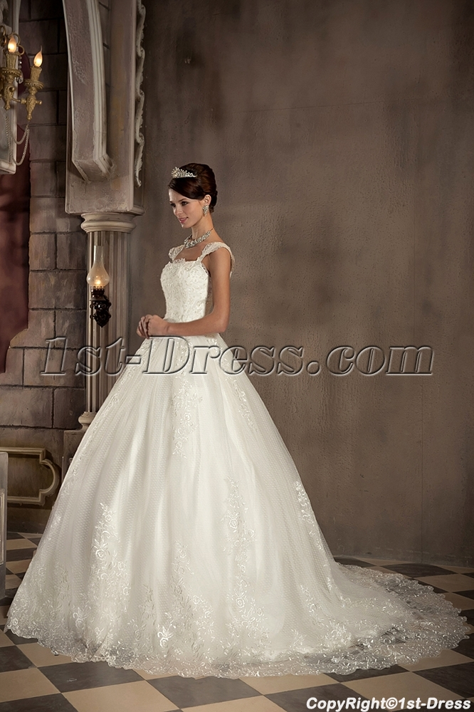 Straps Romantic Lace Ball Gown Wedding Dress With Corset GG10291st Dress