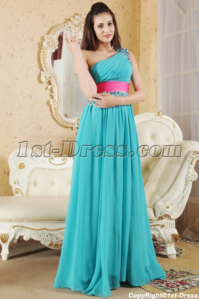 Teal And Hot Pink Pretty Prom Dress With Train Img53821st Dresscom