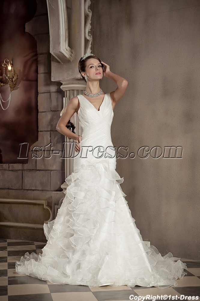 V-neckline Sheath Mature Vintage Wedding Dresses
