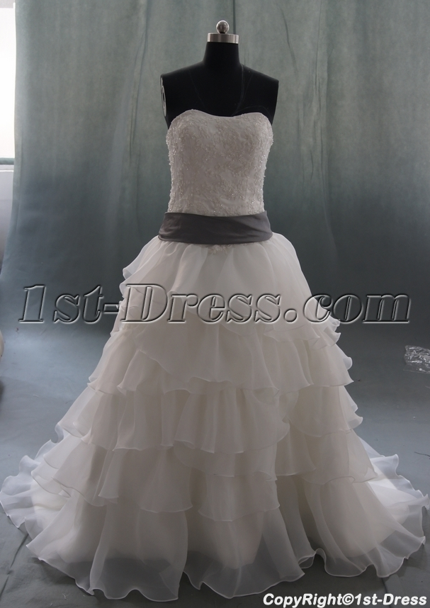 White court train organza plus size wedding dress 06880 for Courthouse wedding dress plus size