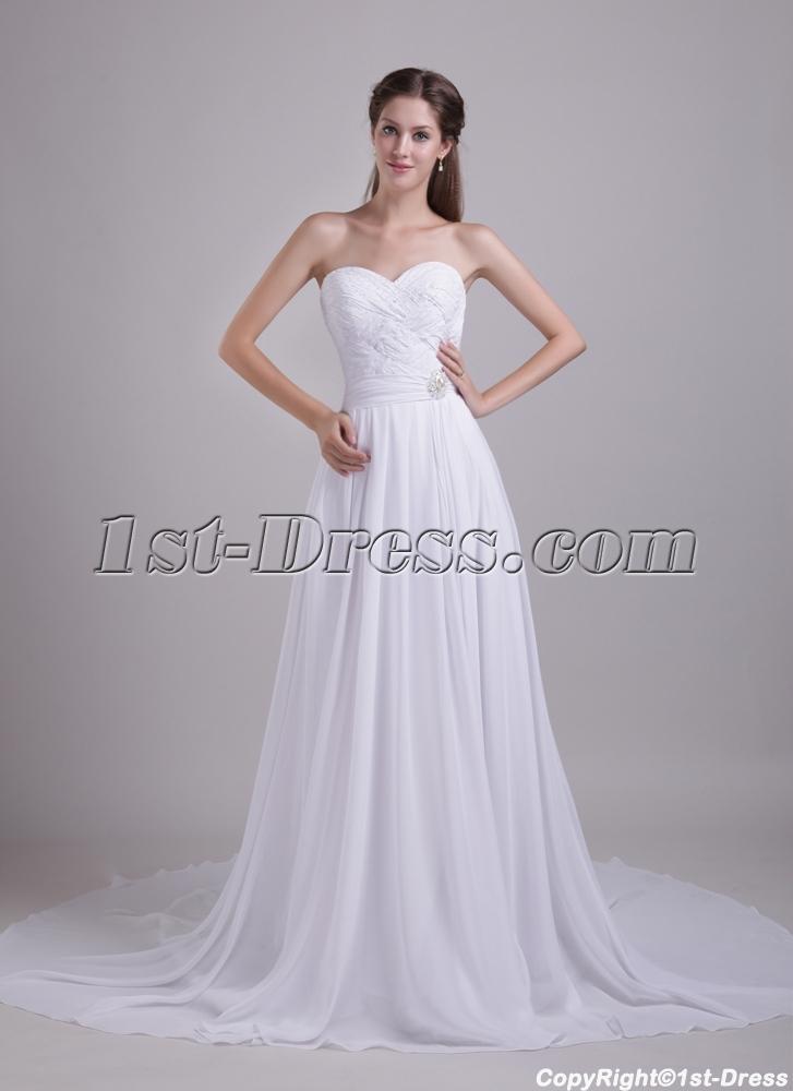 White Wedding Dresses for Pregnant Brides 0848:1st-dress.com