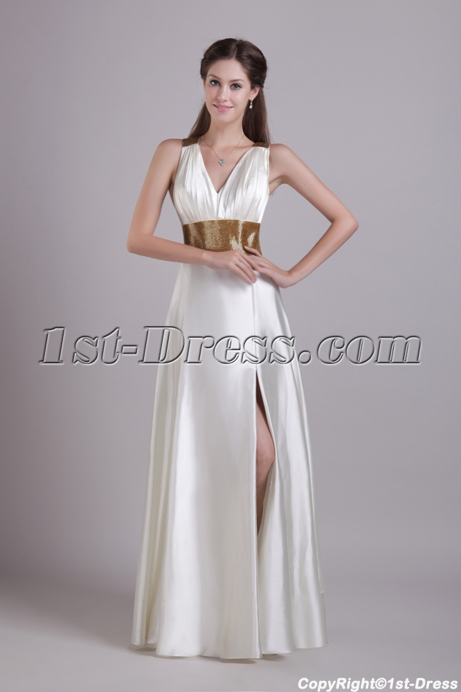 White with Gold Beads Beach Bridal Dress 0786:1st-dress.com