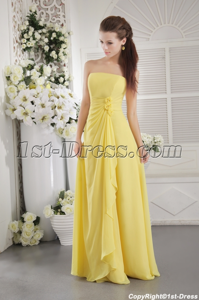 Yellow Strapless Chiffon Long Bridesmaid Dress For Plus Size Img 9697 Loading Zoom