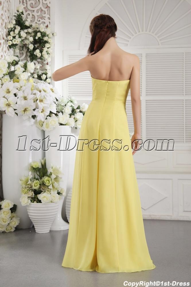 Yellow Strapless Chiffon Long Bridesmaid Dress For Plus Size