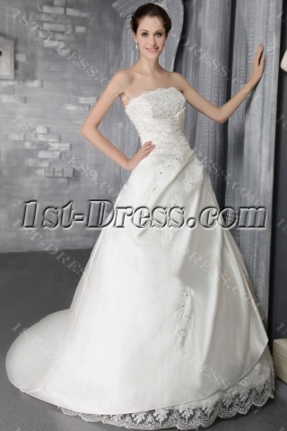 2012 Simple A-line Long Western Wedding Dress 2667