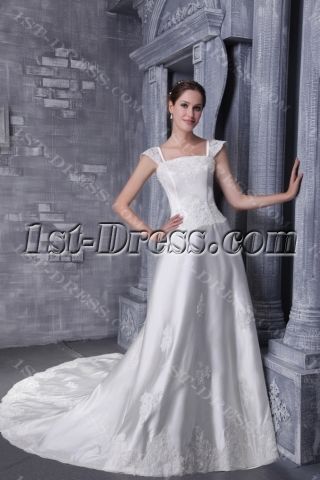 2013 Plus Size Wedding Dress with Cap Sleeves 1181