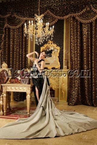 Sleeveless Floor-length Elastic Woven Satin 2013 Prom Dresses H-147